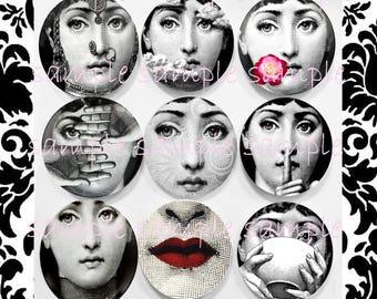 Clip Art instant Digital Download, Digital Collage Sheet, Fornasetti Lina Cavalieri Portrait, Printable, Jewelry Cabochon Pendant