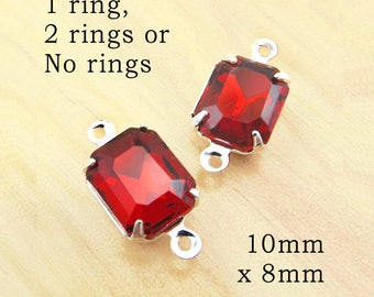 Ruby Red Glass Beads - 10x8 Octagons in Silver or Brass Settings - Stud Earring Jewels - 10mm x 8mm - Glass Rhinestone Gems - One Pair