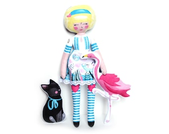 Alice in Wonderland Dinah Flamingo - plush dolly doll Lewis Carroll  Cheshire cat