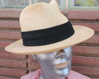 ON SALE Vintage 1980s Straw Hat Mens Stetson Imported Tuscany Sz 7 1/8