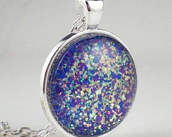 SUMMER SALE Violet Sea Green Glitter Nail Polish Necklace Jewelry Nail Polish Jewelry