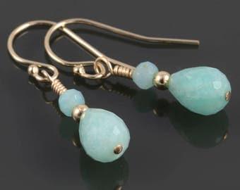 Amazonite Earrings. Gold-Filled Ear Wires. Genuine Gemstone. f17e032