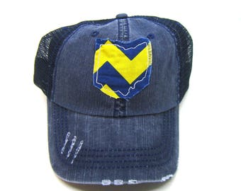Clearance - Sale - Gift - Gracie Designs Hat - Ohio navy and yellow chevron distressed trucker