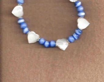 ON SALE Mother-of-Pearl & Cat's Eye Glass Bracelets,MOP Bracelets,Cat's Eye Glass Bracelets,Heart Bracelets