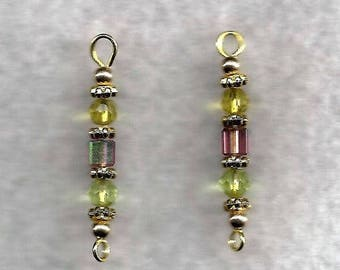 Purple & Green Crystal Drop Earrings