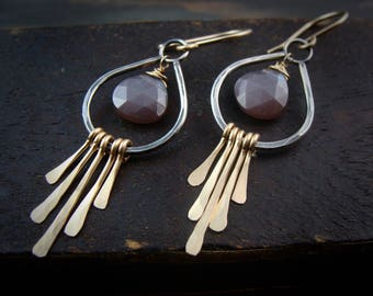 shimmer ... chocolate moonstone, silver and gold fill dangles