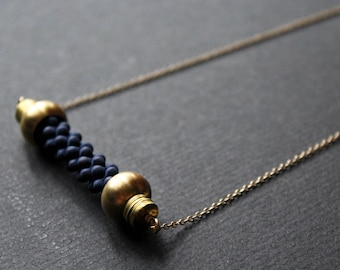 NEW Elizabeth navy blue Necklace - horizontal bar necklace nautical rope necklace unique long modern statement brass jewelry