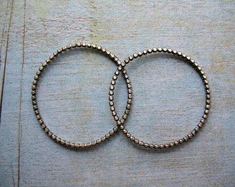 Antiqued Sterling Silver Beaded Hoop Findings - 16g - 1 Pair - 35mm in length