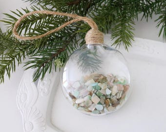 Beach Cottage Decor, Coastal Holiday Ornament, Aqua Abalone