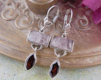 Rose quartz & garnet sterling silver earrings