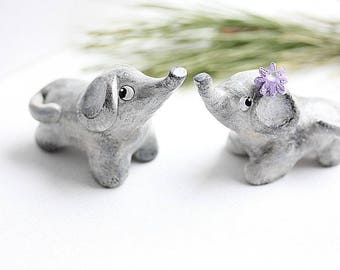 Baby Elephants Wedding Cake Topper - Clay Elephants - Wedding Elephant cake topper - Elephant Baby Shower - Animal Cake Topper