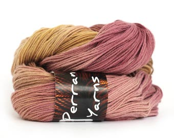 Handdyed yak yarn, 100% pure yak sportweight knitting crochet Perran Yarns Merlot burgundy brown gold variegated yarn, free knitting pattern