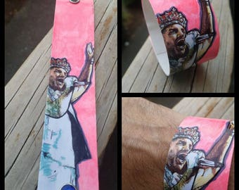 Adam Lambert - Queen - neon pink hand-painted canvas cuff with snaps