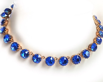 Vintage, sapphire blue, Austrian crystal necklace. Brilliant sparkle!