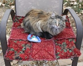SAVED FOR SMOKEY... Cat Quilts, Handmade Cat Bedding, Red Cat Bed, Cat Bed, Handmade Cat Blanket, Travel Cat Blanket