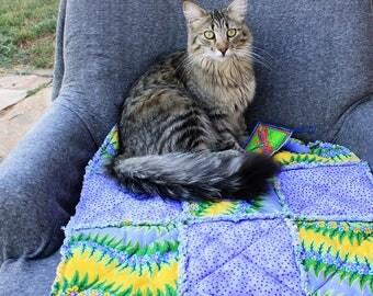 Cat Bed, Purple Cat Blanket, Cat Accessories, Handmade Cat Blanket, Cat Blanket, Fabric Cat Quilt, Luxury Cat Bed, Travel Cat Bed, Cat Mat