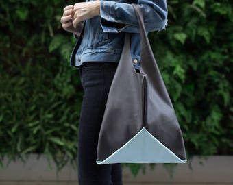 13in Origami wedge - charcoal and mint