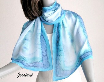 Hand Painted Silk Scarf, Powder blue, Aquamarine Turquoise Cyan, Unique JOSSIANI Creation, ready to ship.