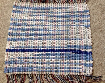 Rag Rug Handcrafted OOAK Bitty Rug Mat doubleknit  18 inches wide 16 inches long