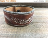 50% OFF- Custom Leather Cuff-Create Your Own-Tooled Leather-Word Cuff-Hand Painted
