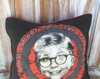 SALE- Christmas Story Throw Pillow-Humor- Iconic--Upcycled Eco Friendly-Quilted
