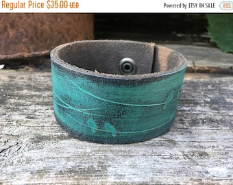 40% OFF- Embossed Leather Cuff-Create Your Own-Hand Painted Birdie Leather-Word Cuff