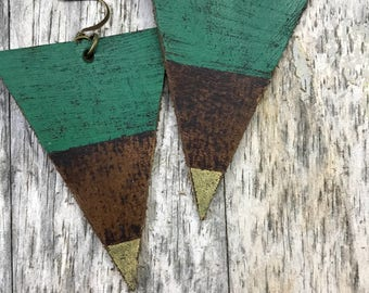 Painted Leather Earrings--Triangles-Boho Earrings-Mini Canvas-Gold and Green