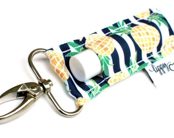 LippyClip® Lip Balm Holder for Chapstick, Burt's Bees, etc. |  Clip-On Keychain | Navy and White Stripe with Pineapples