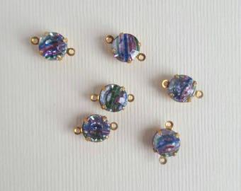 Vintage brass rhinestone charms