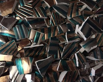 Mosaic Tiles 100 Pieces Broken Plates Dishes Metallic Hand Painted Silver Gold Blue Mix