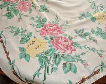 Vintage Tablecloth Pink and Yellow Roses Jade Green Screen Printed 45 x 46 inches