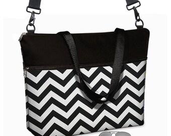 "Chevron Laptop Tote Bag / 17 inch Laptop Bag with Straps / Womens 17"" Laptop Case / Pockets,  Zipper /  Black & White MTO"