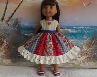 """14 and 14.5"""" Doll Dress Red White and Blue Rustic Medley V2 OOAK Fits dolls like H4H and Wellie Wishers"""