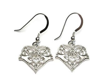 Irish Claddagh Earrings Lacy Filigree Design Sterling Silver Dangle Style Gift Boxed  Valentine's Day