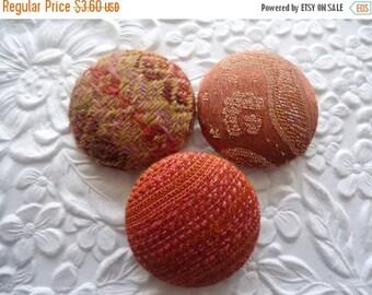 CLEARANCE - Peach orange buttons, fabric buttons, handmade buttons, 1 1/8 inch buttons
