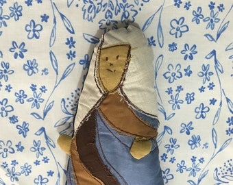 Cloth Doll, Sister Forget-Me-Not, Applique Art Collectible