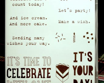 NEW!! Stampin' Up! Party With Cake retired red rubber stamp (12)