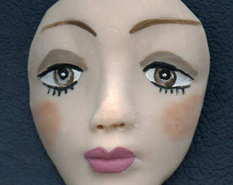 Medium Brown Eyed   Detailed Polymer Face  Un Drilled BRLG 1