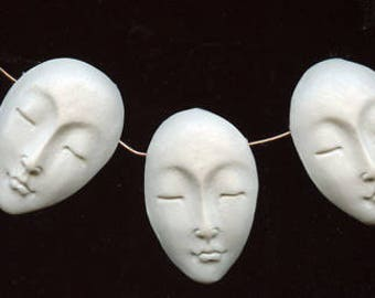 Asian Face Beads Lot of 3 Faux Bone Polymer Clay Side Drilled FBAC 2