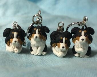 Miniature Dog, Black Tri Australian Shepherd, Stitch Markers, Dog Lover Gift, Knitting Notions, Crochet Notions, Knitting Accessories, Set 4