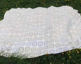 Vintage Cream & White Crochet with Hearts Rectangle Lace Tablecloth, Bedspread, Window Treatment Large 86 x 184 Inches