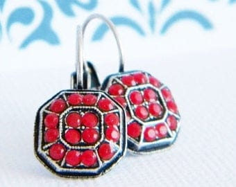 SALE Antique Silver Red Coral Swarovski Victorian Style Lever back Earrings