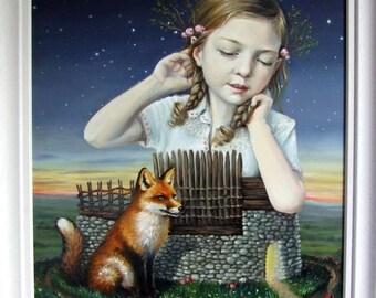 Lissadonna - original art by Tanya Bond - fantasy illustration oil painting pop surrealism fox brown fort Ireland Irish Midlands