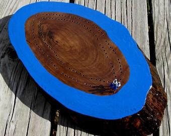 Reclaimed Walnut Slab Cribbage Board