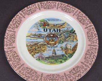 ON SALE Vintage Souvenir Plate Utah UT Land of Color Pink Gold Rim State Collector Decorator Homer Laughlin 50's