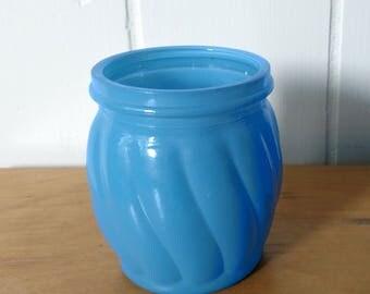 vintage rounded blue glass bottle