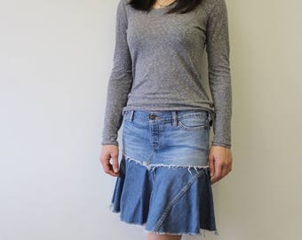 CUSTOM Refashioned  Denim Jean Skirt with Flounce Ecofriendly Upcylced Recycled Jeans Repurposed