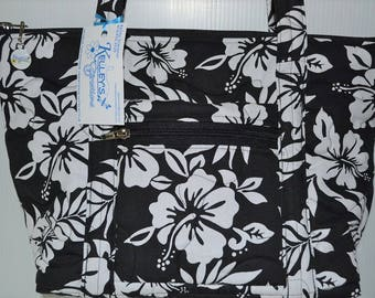 Quilted Fabric Handbag Purse Black with White Hibiscus Flowers