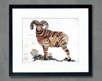 Animals of North America: Big Horn Sheep Ram Art Print