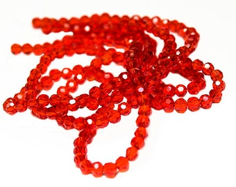 Fiery Red Round Crystals- bright red crystals- glass beads- round crystals- designer beads- tiny crystals- jewelry supplies-beading supplies
